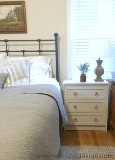 Bedroom Update - Ikea Rast Hack nightstands, Chalk Paint 'Primitive'. Benjamin Moore Edgecomb Gray