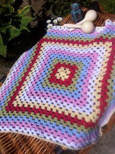 Baby blanket granny square in Cath Kidston colours