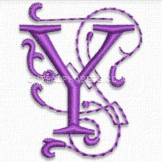 Free Embroidery Design: Purple Heart Font – Letter Y