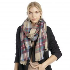 Navy Multi   wool plaid scarf   Free Shipping on Orders $50+