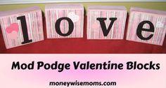Mod Podge Valentine Blocks