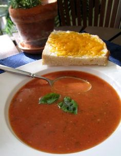 Homemade Tomato-Basil Soup With Cheese Toasts Recipe - Food.com - 35594