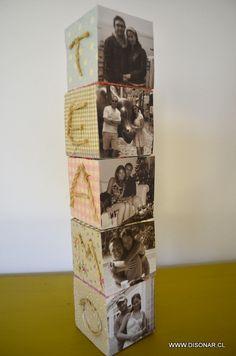 Un original regalo y linda forma de exponer nuestras fotos. Para enamorados, cumpleaños, aniversarios http://www.disonar.cl/proyecto-cubos-fotograficos/