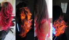 Blacklight Hair! Its so cool! It looks like fire under a blacklight.