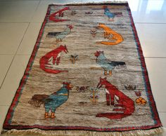 Gabbeh Persian rug hand made Shiraz Pictorial rug by wilshirerugs, $535.00