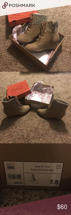 Dress boots! Cute tan and gray dress boots! Casual or dress up! Never been worn! Still new in box! Size 7.5 Shoes Ankle Boots & Booties