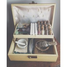 The Witch's Charm Box ($34) ❤ liked on Polyvore featuring home, home decor, witch, vintage home decor, gold home accessories and gold home decor