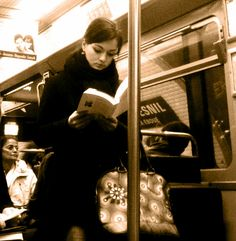 Reading on the subway to and from work. Best way to experience the subway. People Reading, Woman Reading, I Love Reading, Reading Books, I Love Books, Good Books, Books To Read, My Books, How To Read People