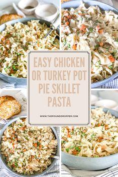 Easy Chicken or Turkey Pot Pie Skillet Pasta via @pounddropper