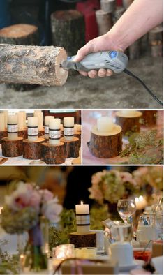 Tree Stump Candle Holders Need a Dremel Dremel, Do It Yourself Wedding, Do It Yourself Fashion, Fall Wedding, Diy Wedding, Rustic Wedding, Wedding Ideas, Wedding Gifts, Dream Wedding
