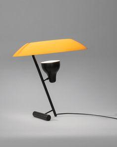 """Modello 548"" simple table lamp in black and orange | lighting . Beleuchtung . luminaires | Design: Gino Sarfatti | markanto |"