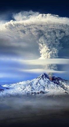 """Mount Ararat, Turkey. Dormant volcanic cone. Mount Ararat in Judeo-Christian tradition is associated with the """"Mountains of Ararat"""" where, according to the book of Genesis, Noah's ark came to rest. It also plays a significant role in Armenian culture and irredentism. ( eruption..illusion ) Original: http://www.flickr.com/photos/74069148@N08/8480323243/in/photostream Art by Sako Tchilingirian"""