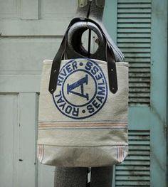 Vintage Feed Sack Tote Bag - Royal River