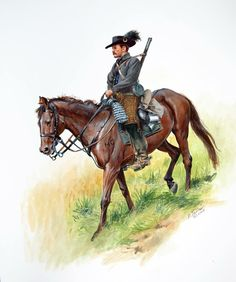 Don Troiani Historical Artist CIVIL WAR: A private of the 2nd Kentucky Cavalry , C.S.A. who is one of Morgan's Raiders . He is armed with a pistol and short Enfield rifle.