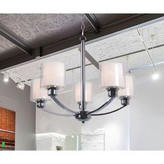 Orbit 5 Light Chandelier Contemporary Design 60 W Chrome Finish Frosted Glass #DesignCraft #Contemporary