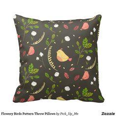 Flowery Birds Pattern Throw Pillows