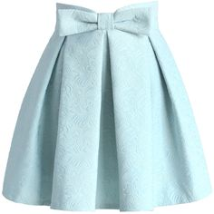 Chicwish Sweet Your Heart Jacquard Skirt in Pastel Blue (61 AUD) ❤ liked on Polyvore featuring skirts, bottoms, saias, blue, pastel skirt, knee length pleated skirt, bow skirt, pleated skirt and embellished skirt