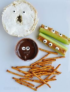 64 Non-Candy Halloween Snack Ideas (get candy eyes from Wilson baking goods at craft stores)