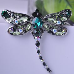 Blucome Antique Silver Plated Dragonfly Brooches Sapphire Jewelry Shining Crystal Vintage Brooch Green Big Broches Hijab Pins Up Cute Jewelry, Jewelry Sets, Jewelry Accessories, Women Jewelry, Vintage Accessories, Beautiful Gifts, Beautiful Outfits, Lesage, Crystal Brooch