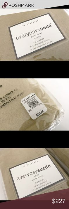 Pottery Barn Duvet Cover & Shams Beige Suede Duvet Cover NWT Pottery Barn Other