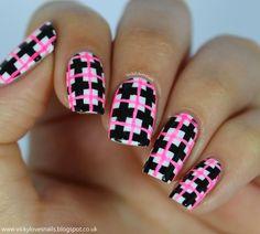 Neon Check Manicure