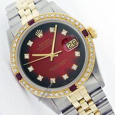 Rolex Datejust 16013 STEEL 18K Yellow Gold Red Vignette Dial Diamond/Ruby Watch #Rolex #LuxuryRolex