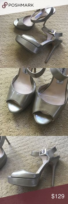 Authentic jimmy choo platform peep toe heels 6 Super hot jimmy choo heels. The platform makes them easy to wear. Champagne patent leather is very neutral and makes your legs look a mile long! Minor wear on heel as pictured. Size 36.5 should fit size 6 Jimmy Choo Shoes Heels