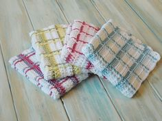 Tartan Plaid Wash Cloths By HappyBerry - Free Crochet Pattern - (ravelry)