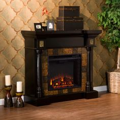 Lifesmart Lifelux Media Center Fireplace Finish: Midnight Black ...