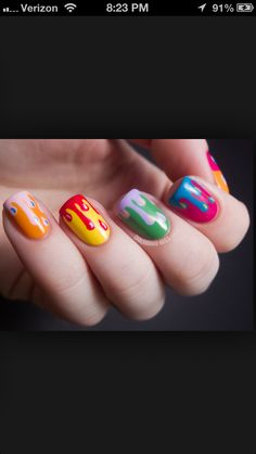 Colorful drip drop nails. These are cool.