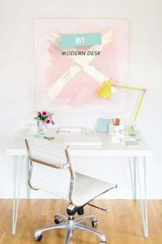 #diy, #office, #modern, #desk, #desk-lamp, #artwork, #office-chair  Photography: Ruth Eileen - rutheileenphotography.com  Read More: http://www.stylemepretty.com/living/2014/04/24/diy-abstract-art-2/