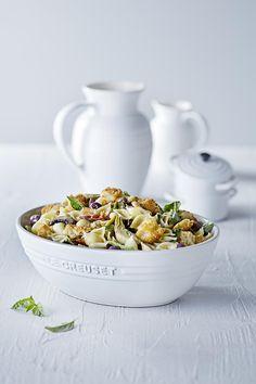 Pasta Salad with Crispy Pancetta, Black Olives, Artichokes, Wild Mushrooms and Blue Cheese Dressing | Le Creuset Cotton Pasta/Salad Bowl and 22cm Jug