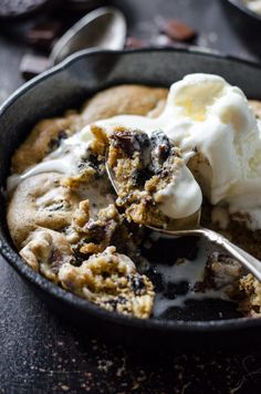 A restaurant back in my hometown is legendary for a few things – the margaritas, the salsa and ranch combo for tortilla chips, they're wet burrito, and their skillet cookie dessert. This cookie is insane. Soft and gooey, topped with a big spoonful of vanilla ice cream. We all know (yes, this is a fact) that soft chocolate chip cookies straight from the oven while the chocolate is still all melty is nothing short of next to godliness. When someone mentioned the restaurant to me in passing ...