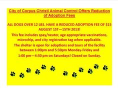 $15 ADOPTION FEE FOR DOGS OVER 12 POUNDS THRU AUGUST 15