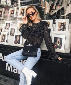45 Cute Spring Outfits Ideas with Black Bags Image Fashion, Trend Fashion, Look Fashion, Paris Outfits, Mode Outfits, Fashion Outfits, Cute Spring Outfits, Fall Winter Outfits, Outfit Summer