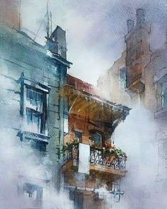 Watercolor City, Watercolor Landscape Paintings, Watercolor Sketch, Watercolor Artwork, Watercolor Artists, Watercolor Illustration, Watercolor Architecture, Urban Sketching, City Art