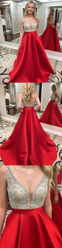 Red satin beaded bodice long prom dresses with pocket,2018 Prom Dresses,Long Beaded Prom Pageant Dresses,#sheergirl #prom
