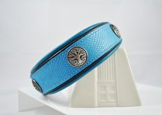 You can customize this turquoise amazon cobra embossed cowhide dog collar with your choice of chap leather lining, conchos or a nameplate.
