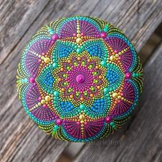 Each Mandala I create is a challenge for myself to paint something new and unique 🤗🎨☀️🏵 The stone will be available later this week ❤️ Dot Art Painting, Rock Painting Designs, Pebble Painting, Pebble Art, Stone Painting, Mandala Art, Mandala Painting, Mandala Pattern, Mandala Painted Rocks