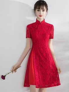 Rose Floral Lace Qipao / Cheongsam Dress with Split – CozyLadyWear Rose Floral Lace Qipao / Cheongsam Kleid mit Split – CozyLadyWear Pretty Dresses, Beautiful Dresses, Cheongsam Modern, Dress Outfits, Fashion Dresses, Cheongsam Dress, Ao Dai, Asian Fashion, Chinese Fashion
