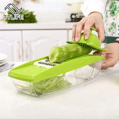 TTLIFE Vegetable Cutter Food Container Adjustable Mandoline Slicer with 5 Interchangeable Stainless Steel Blades Slicer