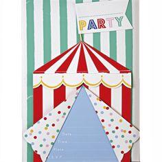 meri meri uitnodigingskaarten circus 8st | ilovespeelgoed.nl