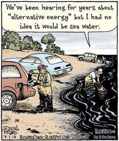 The Water Fuel Cell Car vs Oil, Terrorism and Climate Change Comedy Comics, Fun Comics, Funny Cartoons, Funny Jokes, Stupid Funny, Funny Stuff, Hilarious, History Cartoon, Bizarro Comic
