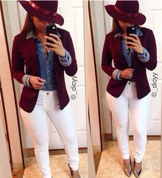 #FallReady love this match up, from the denim to white to burgundy. Perf!
