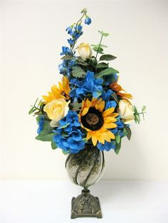Spring Floral Arrangement Sunflower Rose by SandyNewhartDesigns