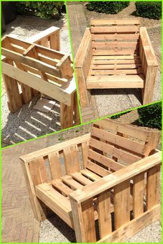 Self made chair, made completely from old pallets. Recycle upcycle reclaimed wooden garden furniture DIY