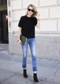 Basics: black top and jeans
