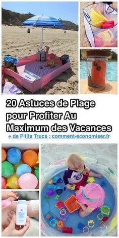 Je ne sais pas vous mais moi j'adore la plage ! Vous aussi vous prévoyez de passer de belles journées ensoleillées avec votre famille ? Alors vous savez que les journées à la plage peuvent vite devenir compliquées si on est pas préparé.  Découvrez l'astuce ici : http://www.comment-economiser.fr/20-astuces-de-plage-pour-profiter-au-maximum-des-vacances.html?utm_content=buffercf360&utm_medium=social&utm_source=pinterest.com&utm_campaign=buffer