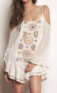 Tbagslosangeles Ivory And Multicolor Dress