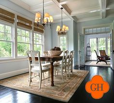 transom windows, coffered ceilings, polished floors, benjamin moore woodlawn blue walls - love everything!
